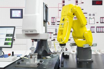 Automated robotic picking automotive part in smart factory, Industry 4.0 concept