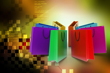 Shopping bags in multiple color