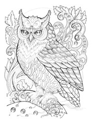 Eagle owl on a branch, patterns, flowers, tattoo