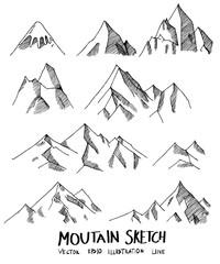 Set of Doodle Mountain Sketch line vector illustration eps10