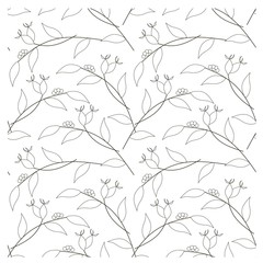 Seamless branch, leafs, dog-rose monochrome pattern stock vector illustration