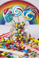 Sweet candy and lollipops and gum balls