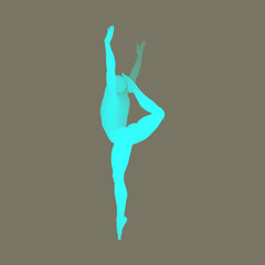 Silhouette of a ballet dancer. 3D model of man. Sport symbol. Design element. Vector illustration.