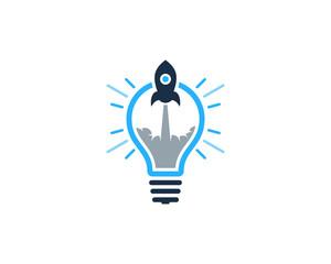 Rocket Idea Icon Logo Design Element