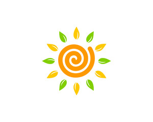 Eco Sun Icon Logo Design Element