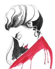 Fashion illustration of a girl in red