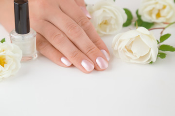 Cares about hands nails. Manicure beauty salon. Nails in pink color. Spring and summer gentle atmosphere with fresh and fragrant white roses on the table.