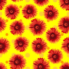 Seamless pattern watercolor flowers.