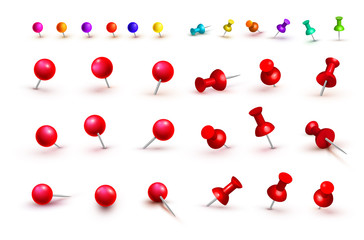 Collection of various red and colorful push pins. Thumbtacks. Top view. Front view. Close up. Vector illustration. Isolated on white background. Wall mural