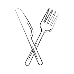 fork cutlery with knife vector illustration design