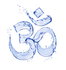 Hindu sign Om made of water splashes isolated on white background