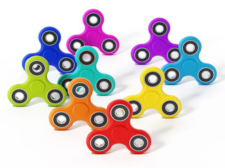 Fidget spinners isolated on white background. 3D illustration