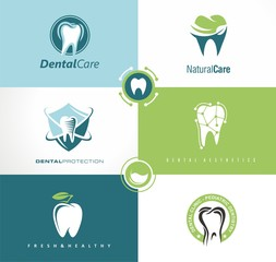 Set of creative logo templates for dental clinic. Dentist symbol.