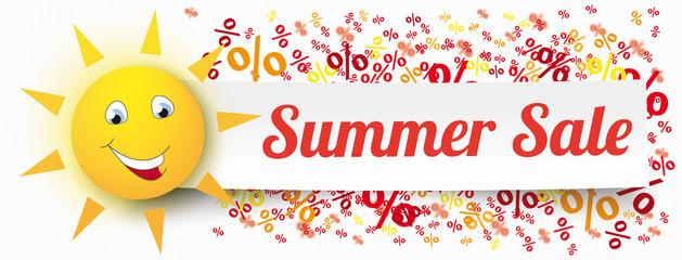 Paper Banner Funny Sun Percents Summer Sale