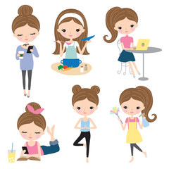 Vector illustration of woman or girl in different lifestyle activities such as cooking, working, reading, cleaning, doing yoga, texting.