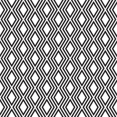 Elegant black and white rows of rhombuses, seamless vector pattern.