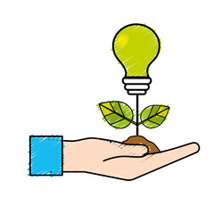 hand with energy bulb plant with leaves and ground