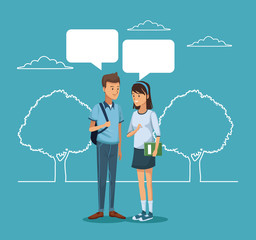 blue scene with silhouette landscape and colorful couple student standing with dialog boxes