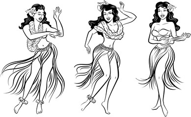 Black and white group of retro pop art Hawaiian Hula girl dancing in a grass skirt