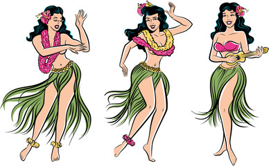 Group of retro pop art Hawaiian Hula girl dancing in a grass skirt
