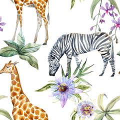 Wall Mural - Tropical wildlife pattern