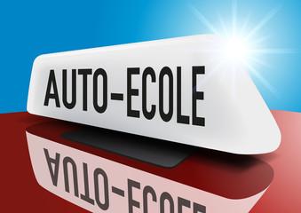 auto-école - enseigne - voiture - permis de conduire - symbole - sécurité routière