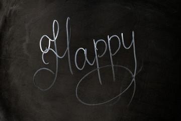 Inscription happy on black background