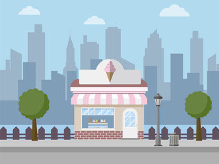 Ice cream shop with city background