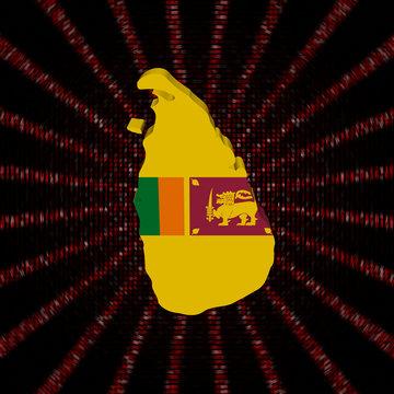 Sri Lanka map flag on red hex code burst illustration