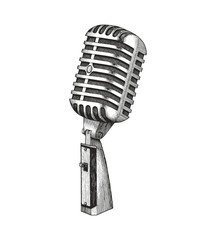 Vintage microphone hand drawing
