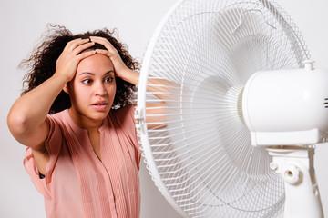 Black woman feeling hot