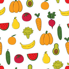 Vegetables, fruits seamless pattern