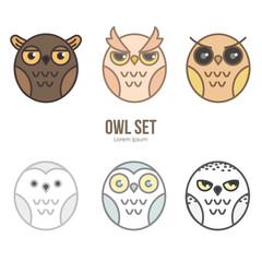 Owls cartoon vector flat design set