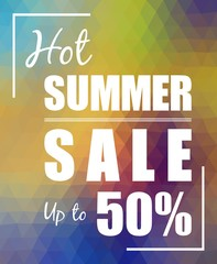 Hot Summer Sale up to 50% over polygonal background