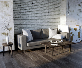 3d illustration, living room, minimalism, loft