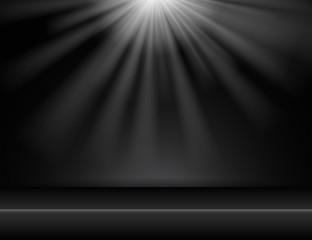 dark black studio room background with lighting above, Vector