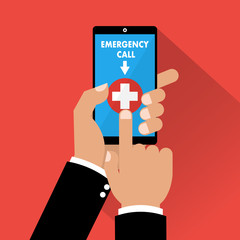 Human hands using emergency call on smartphone mobile. Vector illustration business concept design.