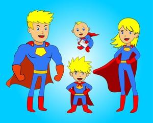cartoon anime superhero family blonde
