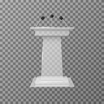 Transparent lecture speaker podium tribune isolated vector illustration