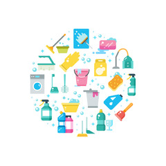 Clean house concept with cleaning and washing tools vector icons