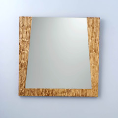 Trapezoid mirror in light brown snake pattern frame