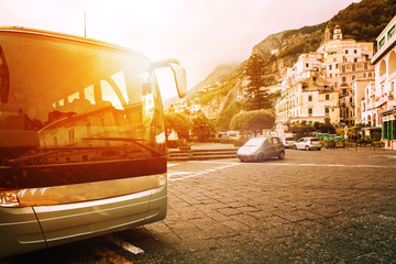 tourist bus parking on town square of amalfi coast most popular traveing destination in south italy Wall mural