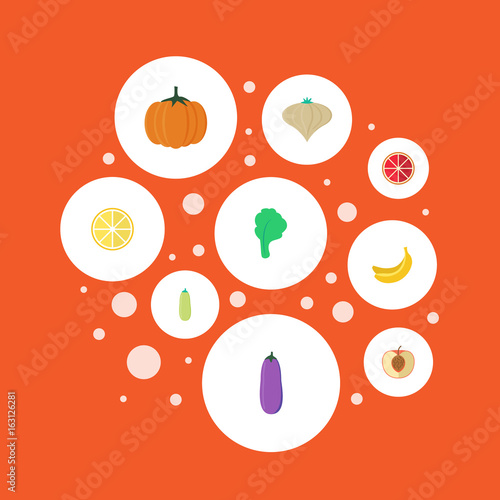Flat Icons Garlic Pumpkin Lime And Other Vector Elements Set Of