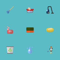 Flat Icons Sponge, Besom, Aqua And Other Vector Elements. Set Of Hygiene Flat Icons Symbols Also Includes Hand, Drop, Aqua Objects.