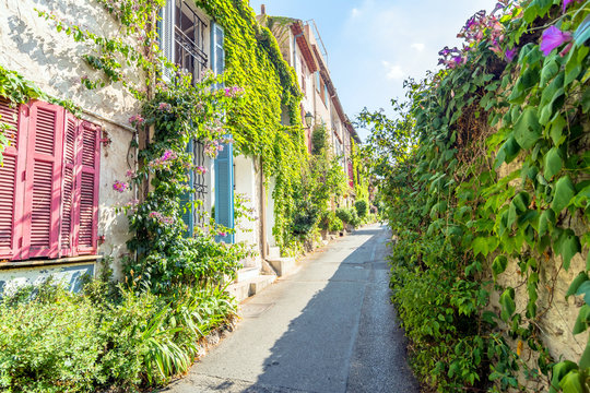 street view in Antibes old town, France