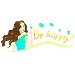 vector composition with happy brunette girl