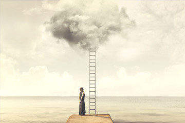 Indecisive woman does not know if she climbs up a staircase from the sky to reach the clouds