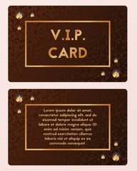 Luxury visiting card vector illustration. VIP cutaway with gemstone.