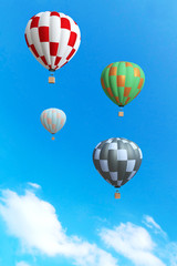 3d rendering : illustration of colorful hot air balloon floating above the sky in sunny day. vacation time concept. abstract peaceful background.