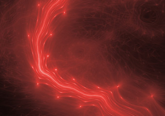 Red flowing plasma, abstract lightning background